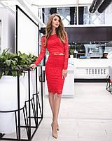 Кружевной женский костюм: кофта с длинными рукавами + юбка, красный, фото 1