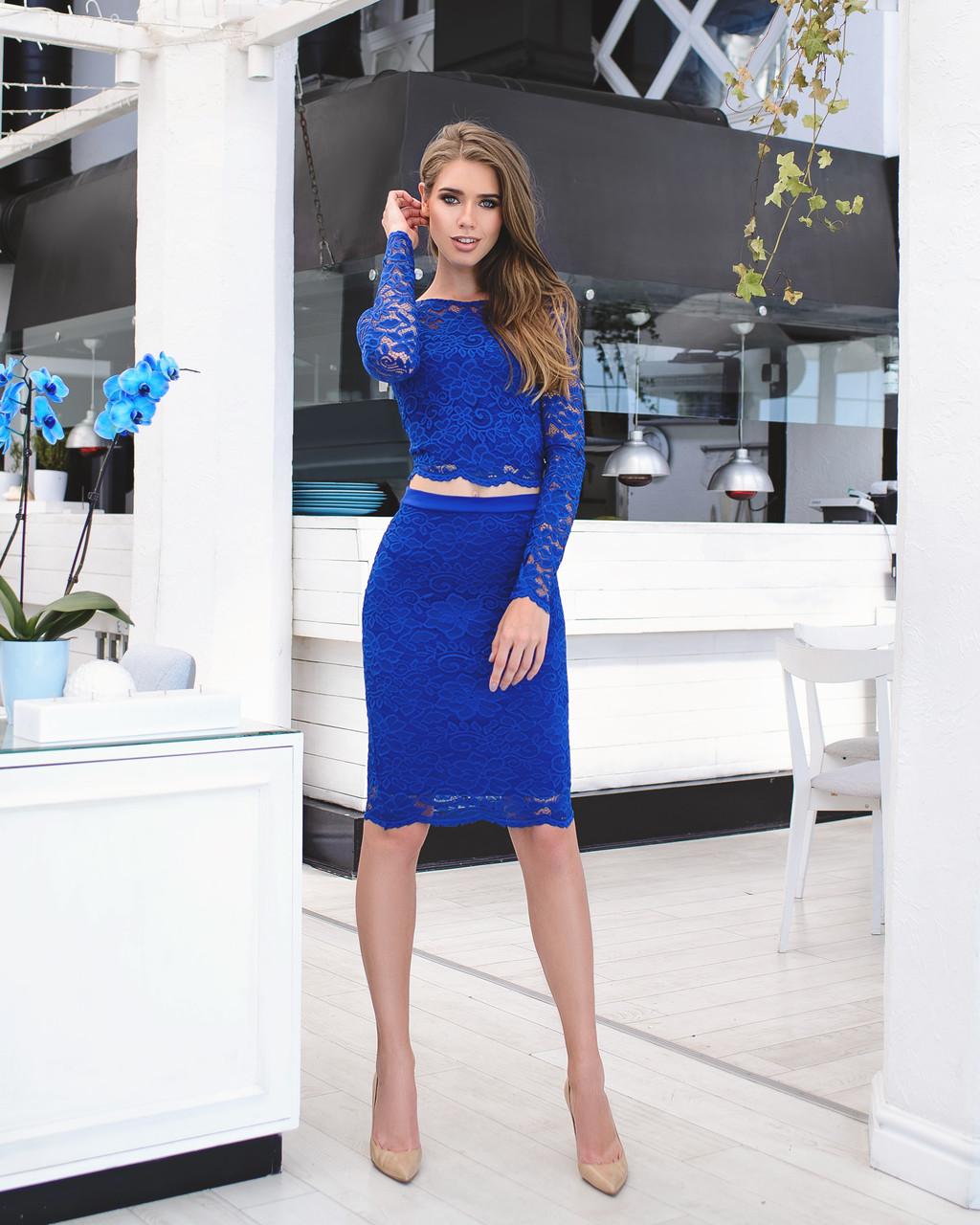 Женский костюм: кофта с длинными рукавами + юбка с набивного гипюра синий