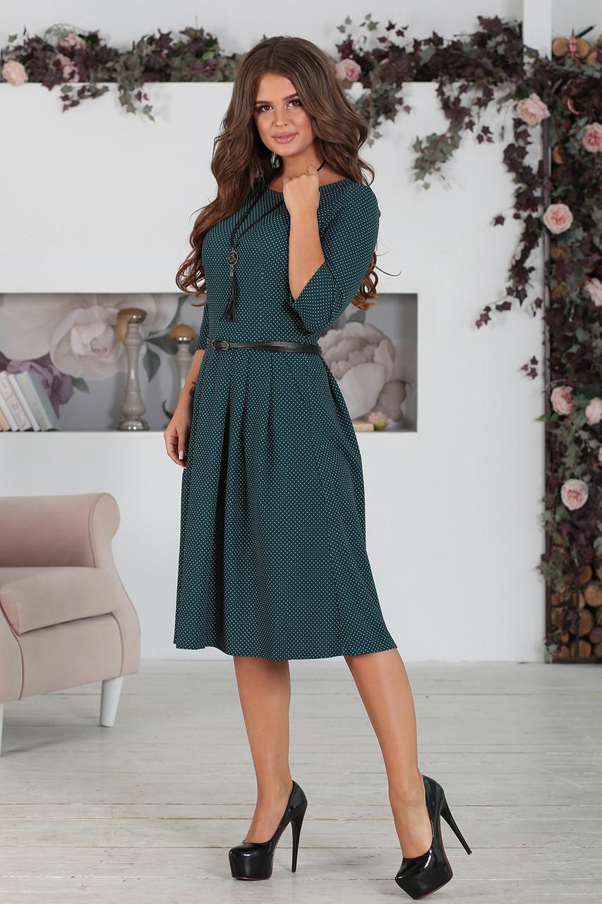 Платье классическое в горошек темно-зеленое