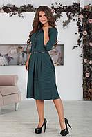 Платье классическое в горошек темно-зеленое, фото 1