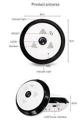 Панорамная (360 градусов) потолочная WiFi беспроводная камера с регистратором