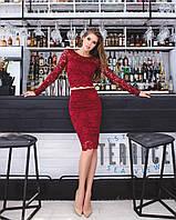 Женский костюм: кофта с длинными рукавами + юбка с набивного гипюра бордо, фото 1