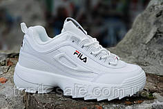 Кроссовки хайповые на платформе FILA реплика, женские, подростковые белые кожаный носок (Код: Ш1236)