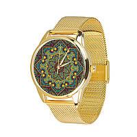 """Часы подарок девушке с металлическим браслетом """"Золотые узоры"""""""