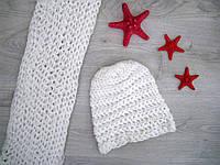 Комплект шапка и шарф (белый)