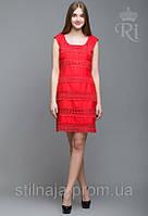 Женское летнее платье красного цвета нарядное