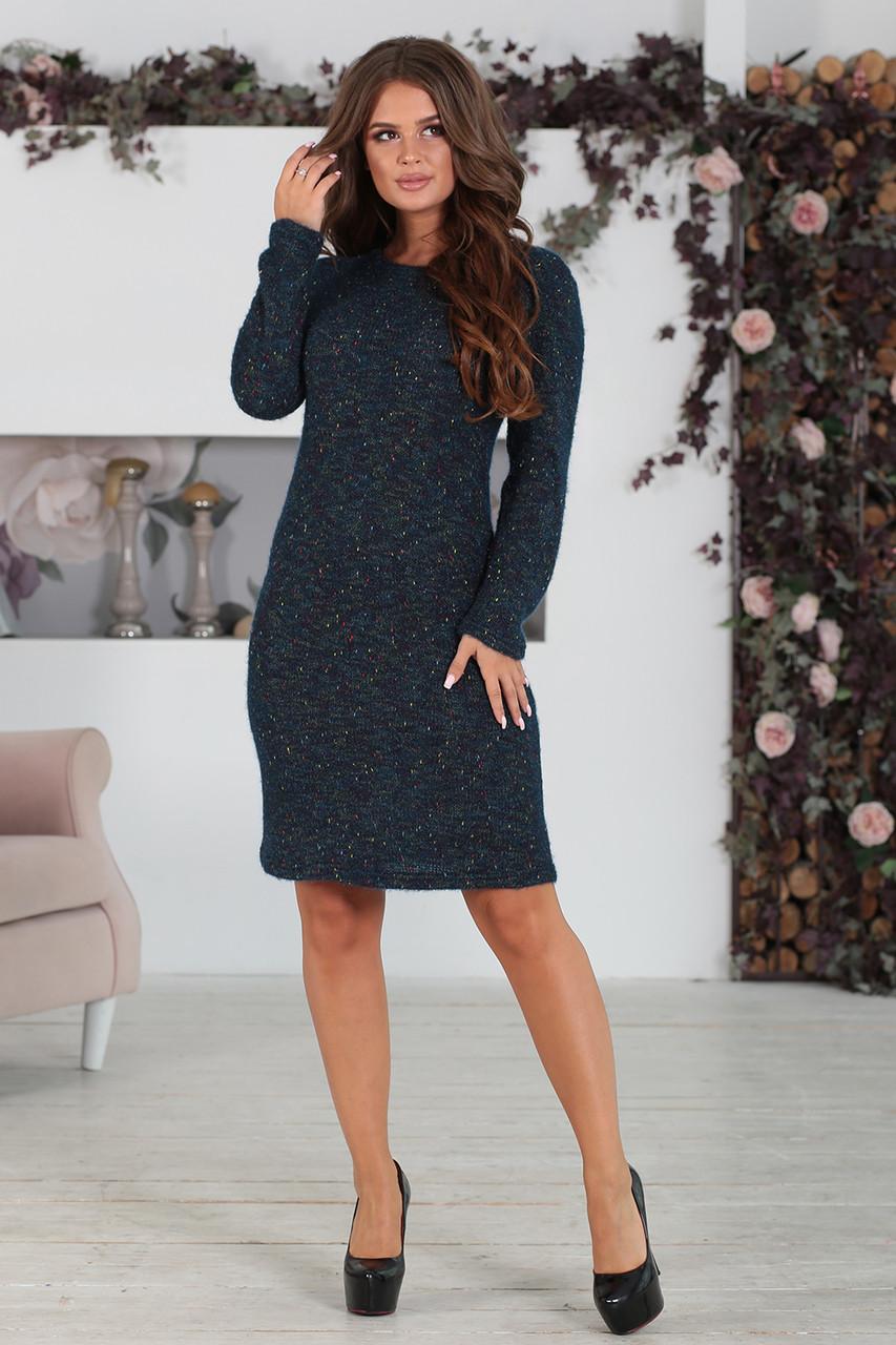 Платье вязаное темно-синий меланж
