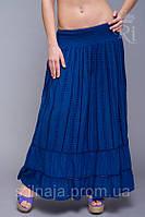 Летняя женская длинная хлопковая юбка синего цвета