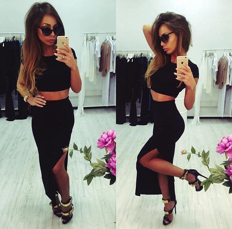 Стильный костюм короткий топ + юбка с разрезом, черный
