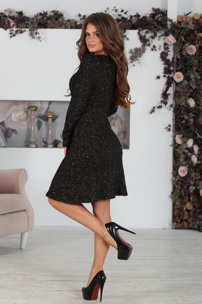 Платье вязаное черный меланж