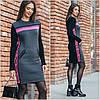 Платье Милан, графит - малина - черный