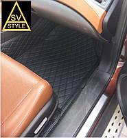 Коврики на Volkswagen Touareg Кожаные 3D (2011-2017) Чёрные