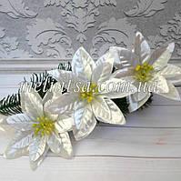 """Цветок пуансетии, """"Рождественская звезда"""",  11 см, парча, цвет серебро"""