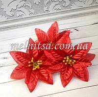 """Цветок пуансетии, """"Рождественская звезда"""",  11 см, парча, цвет  красный"""