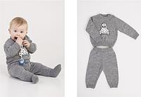 Детский теплый костюм мальчикам, цвет - серый, рост 62-80 см., 408/370 (цена за 1 шт. + 38 гр.)