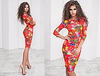 Женское платье классика яркий принт  цветы на красном