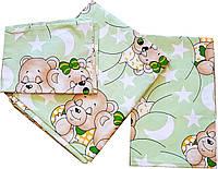 """Детское постельное белье """"Мишки спят"""", зеленый для мальчика от ТМ Бонна из 3 предметов"""