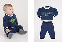 "Костюмчик для мальчика ""Happy"", цвет - синий, рост 62-80 см., 390/353 (цена за 1 шт. + 37 гр.)"