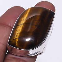 Тигровый глаз кольцо с натуральным тигровым глпазом в серебре 18 размер Индия, фото 1