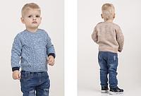 Вязаная мальчуковая кофточка, цвет - голубой и бежевый, рост 80-104 см., 403/363 (цена за 1 шт. + 40 гр.)