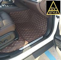 Коврики Range Rover Кожаные 3D (кузов №3 / 2001-2012) Коричневые, фото 1