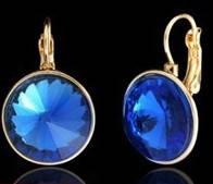 Серьги, позолота 18К, стекло синее, круг