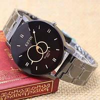 Женские часы  Kevin Стильный черный циферблат Унисекс