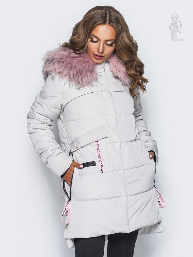 Куртка зимняя женская теплая Эйпл-2 со съемным мехом