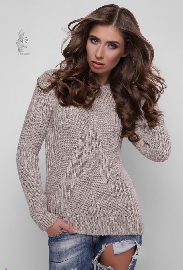 Цвет кофе Вязаного женского свитера Велия