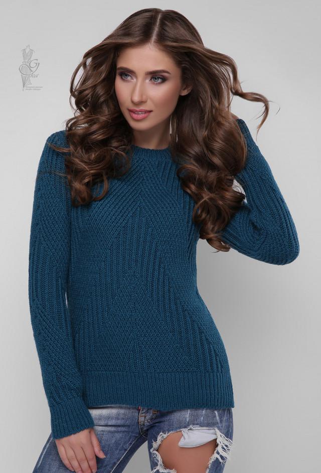 Цвет волна Вязаного женского свитера Велия