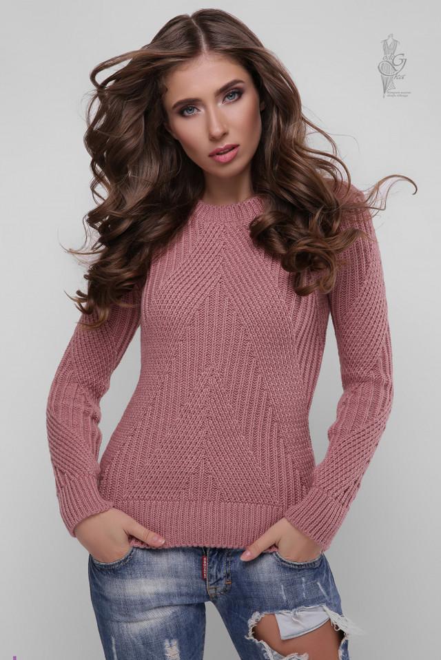 Цвет роза Вязаного женского свитера Велия