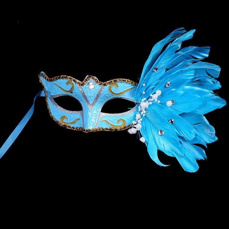 Венецианская маска Жар-птица (голубая)