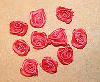 Атласная розочка коралловая 758  упаковка 10 шт, фото 1