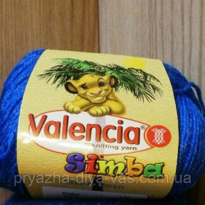 Пряжа полушерстяная детская (40%-шерсть, 20%-вискоза, 40%-акрил, 50г/175м) Valencia Simba 051(синий)