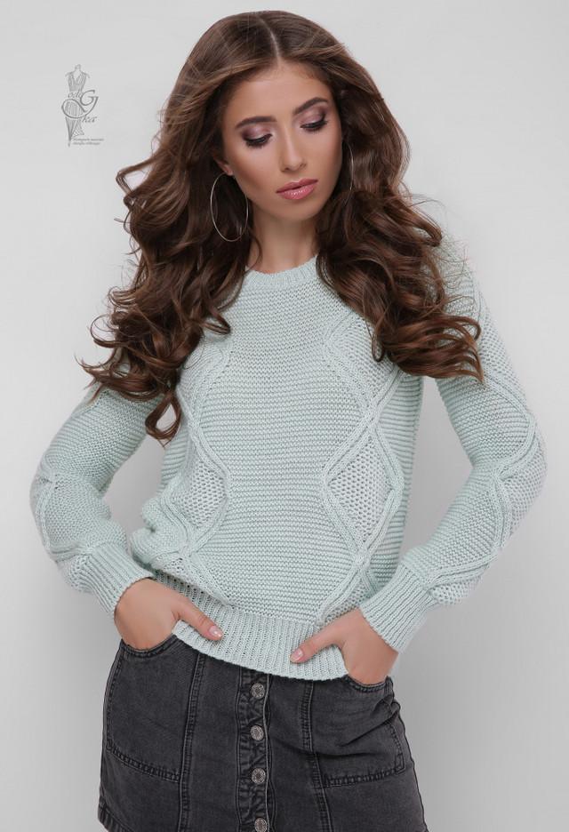 Цвет мята Вязаного женского свитера Памела