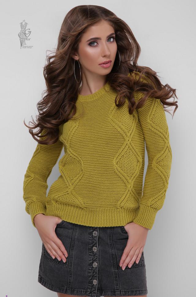 Цвет оливка Вязаного женского свитера Памела