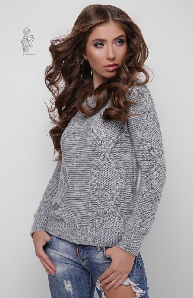Цвет серый Вязаного женского свитера Памела