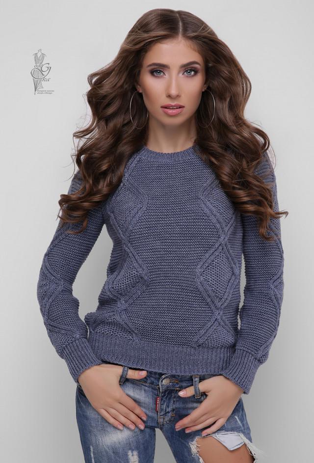 Цвет графит Вязаного женского свитера Памела