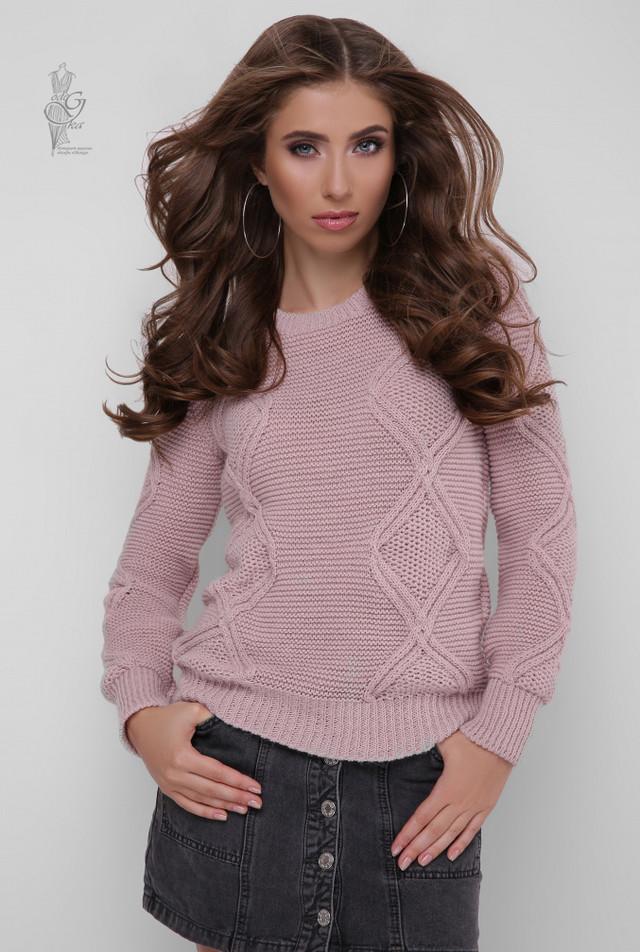 Цвет пудра Вязаного женского свитера Памела