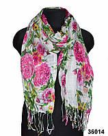 Розовый льняной шарф пионами, фото 1