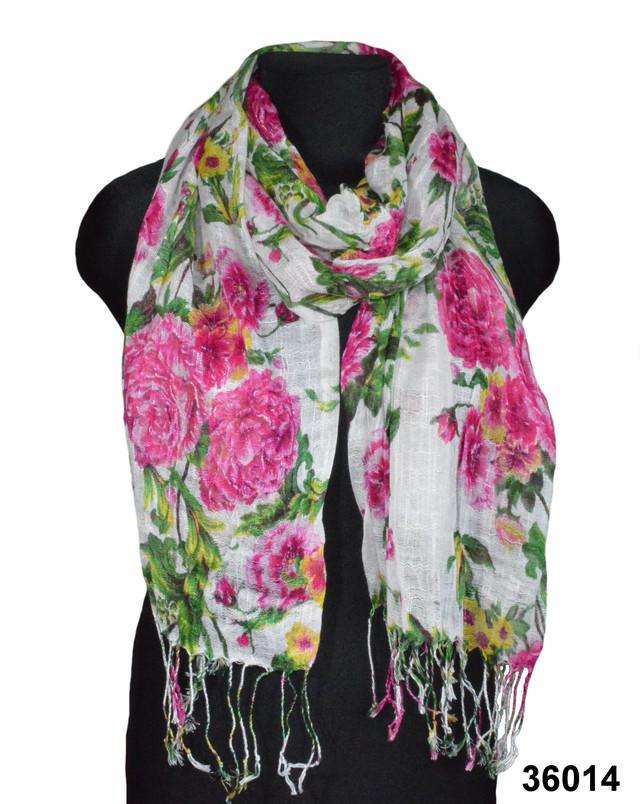 Розовый льняной шарф с пионами фото 1