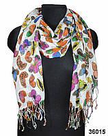 Белый льняной шарф с бабочками, фото 1