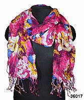 Натуральный льняной шарф маджента, фото 1