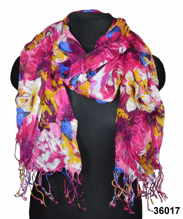 Льняной шарф с цветами маджента фото 1