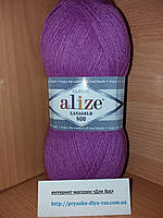 Полушерстяная пряжа (49%-шерсть,51%-акрил,100г/800м)  Alize Lanagold 800  (260 сиреневый)