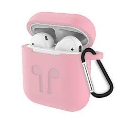 Чехол для AIRPODS silicone case с карабином - Pink Sand