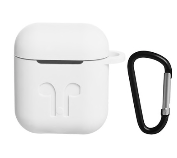 Чехол для AIRPODS silicone case с карабином - White