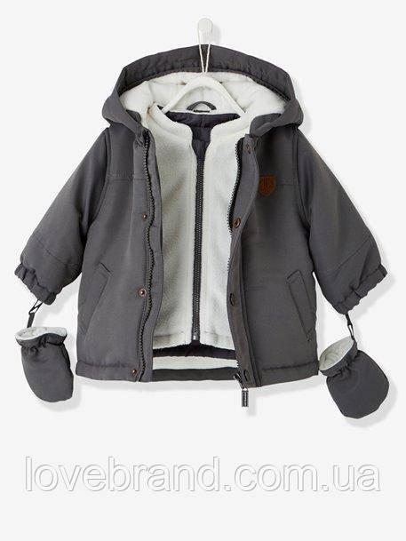 Куртка парка 3 в 1 для мальчика с капюшоном Vertbaudet (Франция)  6 мес/67 см
