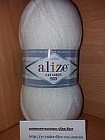 Полушерстяная пряжа (49%-шерсть,51%-акрил,100г/800м)  Alize Lanagold 800  (55 белый)