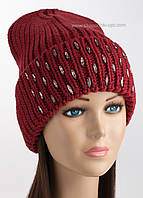 Удлиненная вязаная шапочка Афродита бордового цвета